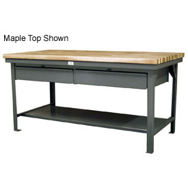 """Strong Hold 60""""W x 36""""D 2 Drawer with Plastic Top Workbench"""