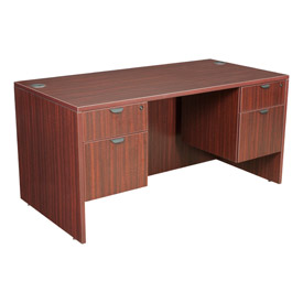 60 Inch Desk with Hanging Peds in Mahogany - Manager Series