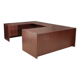 66 Inch U Shape Workstation in Mahogany - Manager Series
