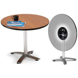 "OFM 36"" Lunchroom Table - Round - Flip Top - Gray"