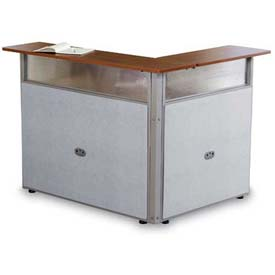 "48"" x 37"" Single Reception Desk, Maple Surface Gray Vinyl"
