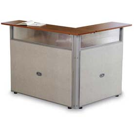 "48"" x 37"" Single Reception Desk, Maple Surface Beige Vinyl"