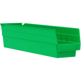 "Akro-Mils Plastic Shelf Bin Nestable 30128 - 4-1/8""W x 17-7/8""D x 4""H Green - Pkg Qty 12"