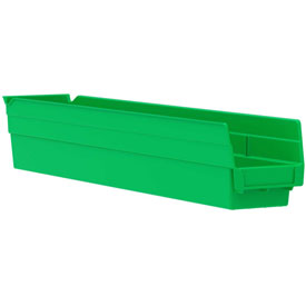 "Akro-Mils Plastic Shelf Bin Nestable 30124 - 4-1/8""D x 23-5/8""D x 4""H Green - Pkg Qty 12"