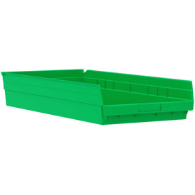 "Akro-Mils Plastic Shelf Bin Nestable 30174 - 11-1/8""W x 23-5/8""D x 4""H Green - Pkg Qty 6"