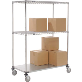 Nexel® Open Sided Wire Exchange Truck 2 Wire, 1 Galvanized Shelf 800 Lb Cap
