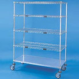 Nexel® Open Sided Wire Exchange Truck 4 Wire, 1 Galvanized Shelf 800 Lb Cap