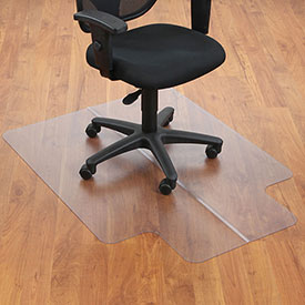 "Office Chair Mat for Hard Floor - 36""W x 48""L  with 20"" x 10"" Lip - Straight Edge"