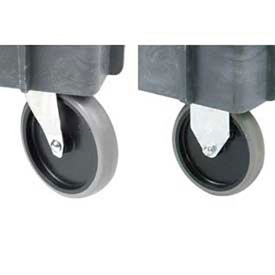 """Replacement 5"""" Rubber Caster Kit for Plastic Service Carts, 2 Swivel & 2 Rigid"""