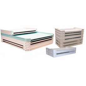 "Molded Fiberglass Stackable Conveyor/Assembly Tray 600208 -23-7/8""L x 14-7/8""W x 1-3/8""H, White"