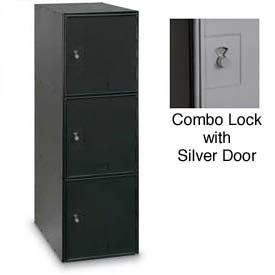 Modular Box Locker 11-1/2 X 18 X 38 Three Black Door With Combination Lock
