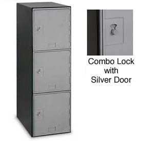Modular Box Locker 11-1/2 X 18 X 38 Three Silver Door With Combination Lock