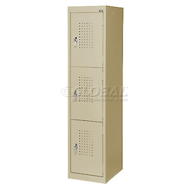 Extra Wide Welded Steel Locker Triple Tier 15x18x66 3 Door Putty