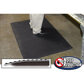 "Noise Reduction Antifatigue Mat 9/16"" Thick 48"" W Up To 30ft Black"