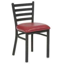 Vinyl Uphostered Restaurant Chair With Ladder Back - Burgundy - Pkg Qty 2