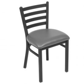 Vinyl Uphostered Restaurant Chair With Ladder Back - Gray - Pkg Qty 2