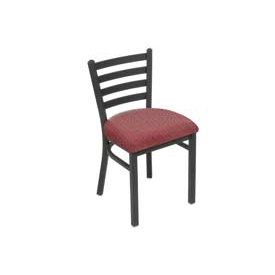 Fabric Uphostered Restaurant Chair With Ladder Back - Burgundy - Pkg Qty 2