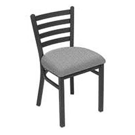 Fabric Uphostered Restaurant Chair With Ladder Back - Gray - Pkg Qty 2