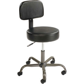 AntiMicrobial Medical Stool with Backrest - Vinyl - Black