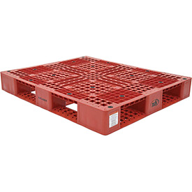 Stackable Plastic Pallet 39-1/2x47-3/8x6, 6600 lb Floor & 2200 lb Fork Cap., Red