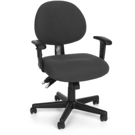 OFM 24 Hour Task Chair with Arms - Fabric - Low Back - Charcoal
