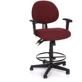 24 Hour Task Chair with Arms and Drafting Kit (Footstool) - Burgundy