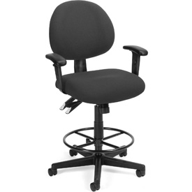 24 Hour Task Chair with Arms and Drafting Kit (Footstool) - Charcoal