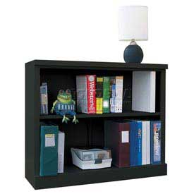 "Steel Bookcase 2 Shelves 34-1/2""W x 13""D x 30""H Easy Assembly Black"