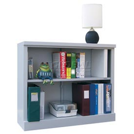 """Steel Bookcase 2 Shelves 34-1/2""""W x 13""""D x 30""""H Easy Assembly Dove Gray"""