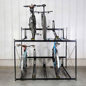 "10-Bike Rack Double Decker, Locking, 72""W X 63""D"