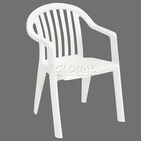 Grosfillex® Resin Lowback Stacking Outdoor Armchair   White   Pkg Qty 16