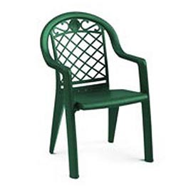 Grosfillex Savannah Highback Stacking Outdoor Armchair Metallic Green Package Count 4 by