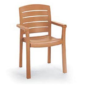Grosfillex® Stacking Dining Outdoor Armchair Woodgrained - Teak - Pkg Qty 4