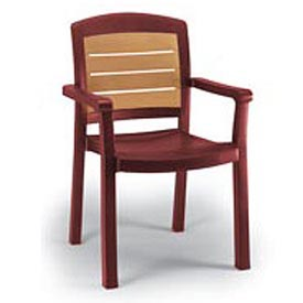 Grosfillex Aquaba Stacking Dining Armchair 2-Tone Woodgrained Burgundy Package Count 12 by