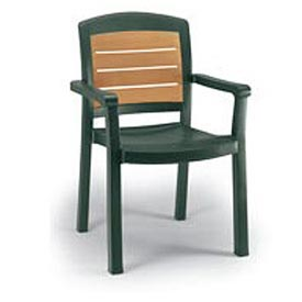Grosfillex® Aquaba Stacking Dining Armchair 2-Tone Woodgrained - Green - Pkg Qty 12