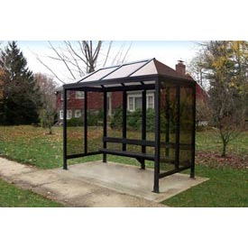 "Smoking Shelter Vented Poly-Hip Roof Three Sided With Open Front 7'6"" X 2'8"""