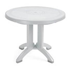 "Grosfillex® Vega 38"" Round Outdoor Folding Tables White - Pkg Qty 14"