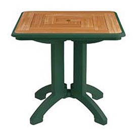 "Grosfillex® 32"" Square Outdoor Folding Tables 2-Tone Woodgrained Green - Pkg Qty 2"