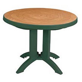 "Grosfillex® 38"" Round Outdoor Folding Tables 2-Tone Woodgrained Green"