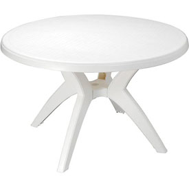 "Grosfillex® Ibiza Best Value 46"" Outdoor Round Resin Table with Umbrella Hole - White"