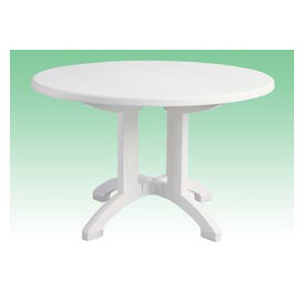 "Grosfillex Aquaba 48"" Round Outdoor Resin Table, White by"