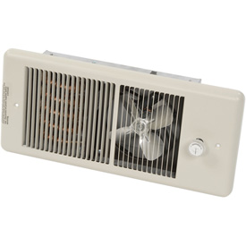 TPI Low Profile Fan Forced Wall Heater With Wall Box HF4375T2RP - 750/562W 240/208V Ivory