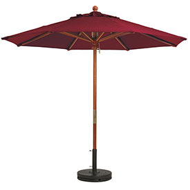 Grosfillex® 7' Wooden Market Outdoor Umbrella, Burgundy