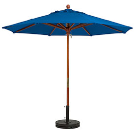 Grosfillex® 9' Wooden Market Outdoor Umbrella, Blue
