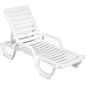 Grosfillex® Adjustable Resin Chaise - White