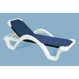 Grosfillex® Catalina Adjustable Outdoor Sling Chaise w/ Armrests - Blue - Pkg Qty 14