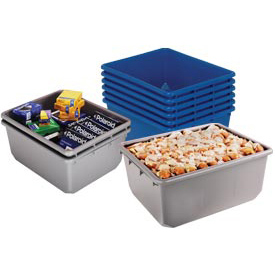 Quantum QuanTub Nesting Tote TUB12419-9 - 24-1/2 x 19 x 9-1/2 USDA FDA Approved, Blue - Pkg Qty 6