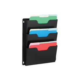Steel Triple Wall File Pockets Letter Size - Black