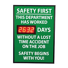 Digital Safety Scoreboard Sign - Safety First, This Department, Lost Time