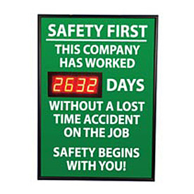 Digital Safety Scoreboard Sign - Safety First, This Company, Lost Time